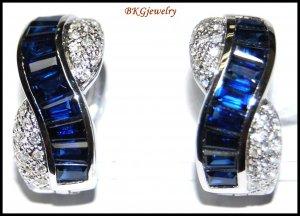 Gemstone Blue Sapphire 18K White Gold Diamond Earrings [E0082]