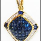 Unique Diamond Blue Sapphire Pendant 18K Yellow Gold [P0071]