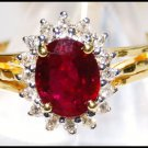 18K Yellow Gold Solitaire Jewelry Diamond Ruby Ring [RS0049]