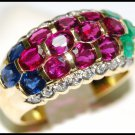Diamond Jewelry Wedding 18K Yellow Gold Multi Gemstone Ring [R0016]