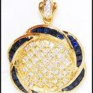 Diamond Blue Sapphire Brooch/Pendant Jewelry 18K Yellow Gold [I_001]