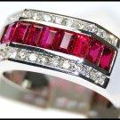Eternity For Men Ruby Ring Diamond 18K White Gold [RQ0049]