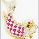 Genuine Ruby Fish Brooch/Pin Gemstone 18K Yellow Gold Diamond [I_007]