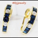 Clip-On Diamond Unique Blue Sapphire Earrings 18K Yellow Gold [E0001]