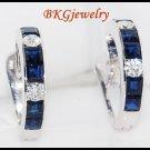 Blue Sapphire Jewelry Diamond Earrings 18K White Gold [E0002]