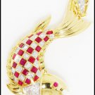 Genuine Ruby Fish Brooch/Pendant Diamond 18K Yellow Gold [I_006]