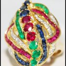 18K Yellow Gold Cocktail Wedding Diamond Multi Gemstone Ring [R0063]