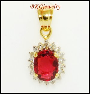 18K Yellow Gold Diamond Genuine Ruby Solitaire Pendant [P0025]