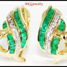 Diamond Gemstone Emerald Swan Earrings 18K Yellow Gold [E0068]