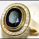 Diamond Wedding 18K Yellow Gold Blue Sapphire Cocktail Ring [RB0028]