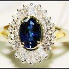 Diamond 18K Yellow Gold Wedding Gemstone Blue Sapphire Ring [R_135]