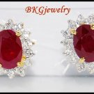 Genuine Diamond Gemstone Stud 18K Yellow Gold Ruby Earrings [E0025]