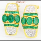 18K Yellow Gold Genuine Diamond Emerald Gemstone Earrings [E0071]