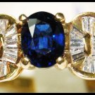 Wedding Diamond Gemstone Blue Sapphire Ring 18K Yellow Gold [RB0024]
