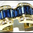 Blue Sapphire 18K Yellow Gold Genuine Diamond For Men Ring [RQ0010]