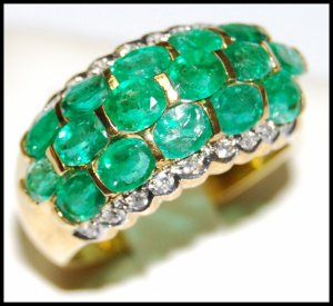 Unique 18K Yellow Gold Cocktail Diamond Emerald Ring [R0015]