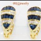 18K Yellow Gold Natural Diamond Blue Sapphire Earrings [E0008]