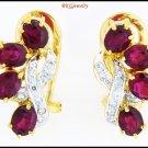 Genuine 18K Yellow Gold Diamond Gemstone Ruby Earrings [E0053]