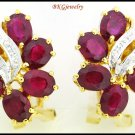 18K Yellow Gold Gemstone Diamond Natural Ruby Earrings [E0051]