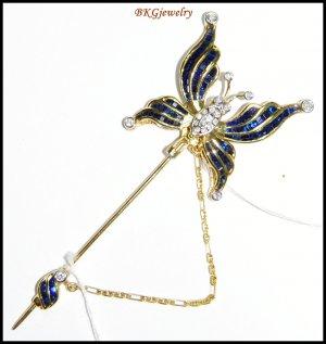 Diamond Blue Sapphire Butterfly Brooch/Pin 18K Yellow Gold [I_020]