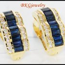 Jewelry Diamond Blue Sapphire Earrings 18K Yellow Gold [E0007]