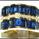 Cocktail Diamond 18K Yellow Gold Wedding Blue Sapphire Ring [RQ0014]