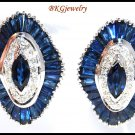 18K White Gold Diamond Blue Sapphire Earrings Jewelry [E0039]