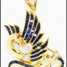 Swan Brooch/Pendant 18K Yellow Gold Diamond Blue Sapphire [I_008]