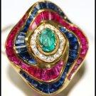 Diamond Cocktail Natural Multi Gemstone Ring 18K Yellow Gold [RF0010]