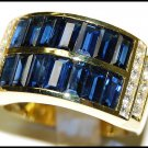 Cocktail Wedding Blue Sapphire Diamond 18K Yellow Gold Ring [RQ0016]