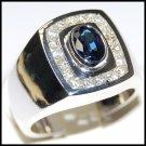 Unique 18K White Gold Cocktail Diamond Blue Sapphire Ring [R0008]