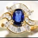 Blue Sapphire Genuine Gemstone 18K Yellow Gold Diamond Ring [RB0018]