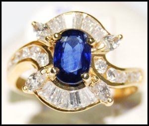 Blue Sapphire Genuine Gemstone 18K Yellow Gold Diamond Ring [RB0018]