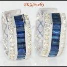 18K White Gold Blue Sapphire Natural Diamond Earrings [E0015]
