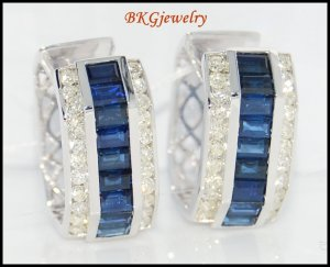 18K White Gold Blue Sapphire Natural Diamond Earrings [E0015]