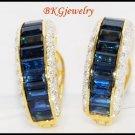 18K Yellow Gold Eternity Diamond Blue Sapphire Earrings [E0004]