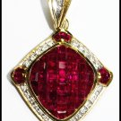 18K Yellow Gold Genuine Diamond Gemstone Ruby Pendant [P0071]