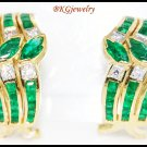 Unique Diamond Emerald Gemstone Earrings 18K Yellow Gold [E0067]