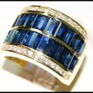 Diamond 18K Yellow Gold Wedding Cocktail Blue Sapphire Ring [RQ0054]
