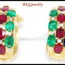 Diamond Jewelry 18K Yellow Gold Multi Gemstone Earrings [E0063]