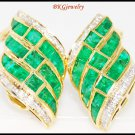 Natural Diamond Gemstone Emerald Earrings 18K Yellow Gold [E0069]