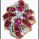 Wedding Ruby Diamond Ring 18K Yellow Gold Cocktail Ring [RF0022]