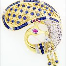 18K Yellow Gold Swan Brooch/Pin Natural Blue Sapphire Diamond [I_001]