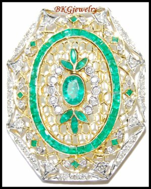 Natural Gemstone Diamond Emerald Brooch/Pin 18K Yellow Gold [I_030]