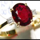 Ruby Ring Natural Diamond 18K Yellow Gold Solitaire [RS0002B]