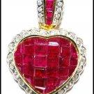 Unique Diamond Ruby Heart Pendant 18K Yellow Gold [P0144]