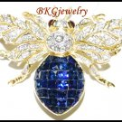 18K Yellow Gold Blue Sapphire Bee Brooch/Pin Diamond Jewelry [I_028]
