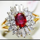 Solitaire Diamond Jewelry Ruby Ring 18K Yellow Gold [RS0157]