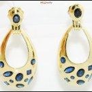 18K Yellow Gold Unique Diamond Blue Sapphire Earrings [E0073]