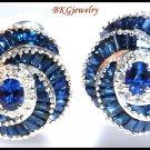 Blue Sapphire Diamond Eternity Earrings 18K White Gold [E0037]